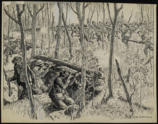 A pen-and-ink drawing over pencil depicting a wooded battle scene with the Métis behind a barricade firing against the approaching British army. The Métis are greatly outnumbered.