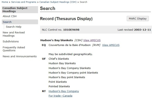"Screen capture of a Canadian Subject Heading search result for the search ""Hudson's Bay blankets."""