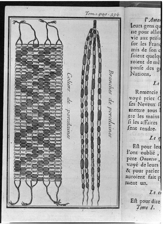Black and white drawing showing two types of wampum: belts and strings.
