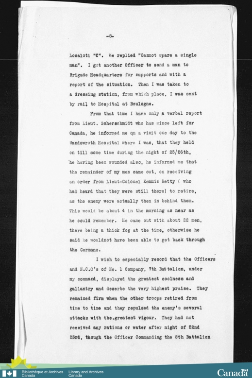 Black-and-white reproduction of a typed account of the 7th Canadian Infantry Battalion during the period when Lieutenant Bellew performed the actions for which he was awarded the Victoria Cross.