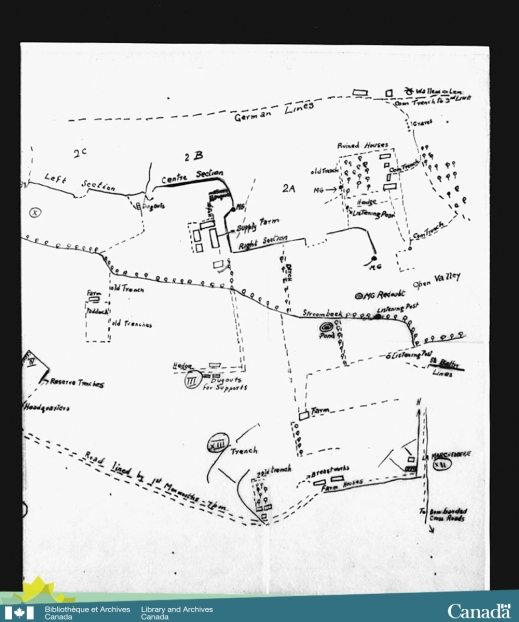 Sketch of a map of the trenches where the 8th Canadian Infantry Battalion was engaged in the first battle of Ypres.