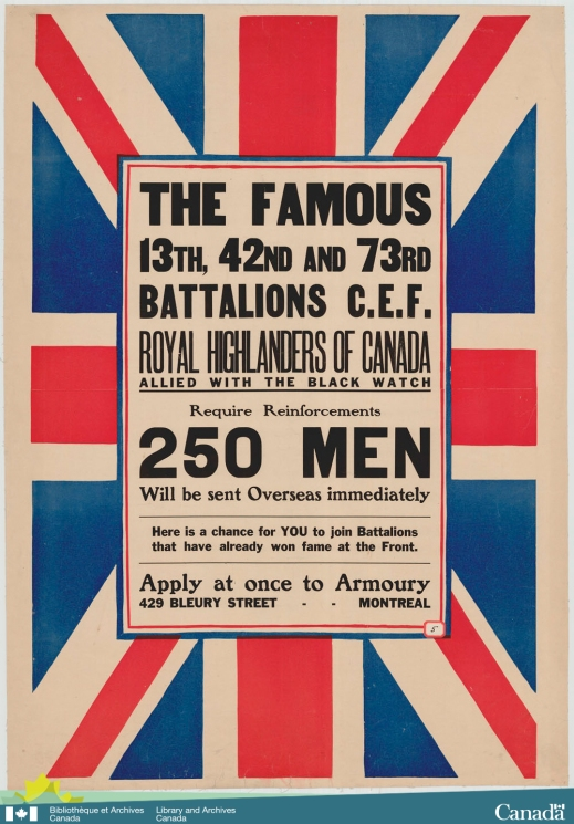 Colour poster of a Union Jack on its side with a notice for recruitment for the 13th, 42nd 73rd Battalions, known as the Royal Highlanders of Canada and allied with the Black Watch.