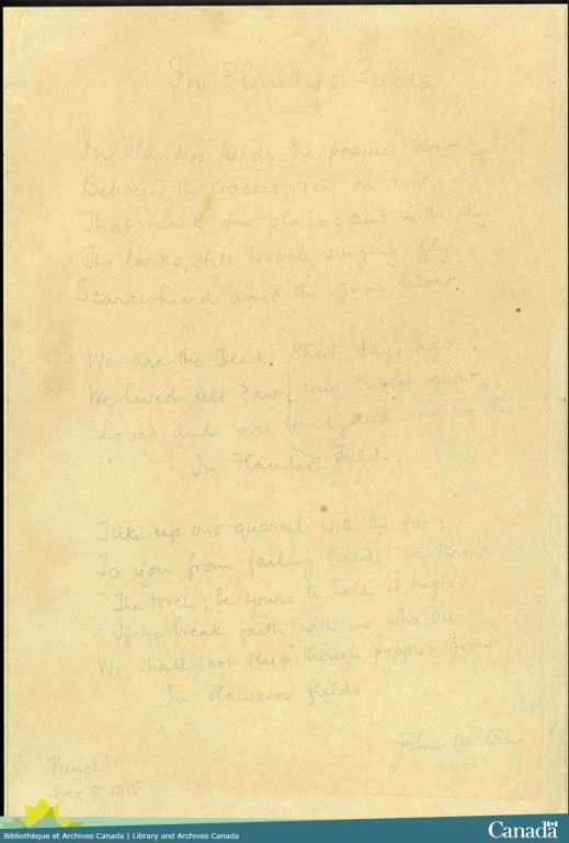The handwritten poem on yellowed paper in very faded ink.