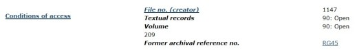 A sample record description in the Library and Archives Canada Archives Search database.