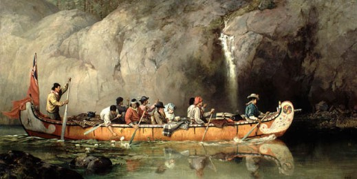 Painting shows a group of fur trade workers steering a Hudson's Bay Company canoe past a small waterfall; the artist and her husband may be passengers seated in the middle of the canoe.