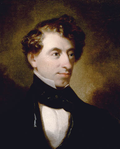 Image shows the earliest known portrait of Sir John A. Macdonald, a portrait painted in oils in the Romantic style.