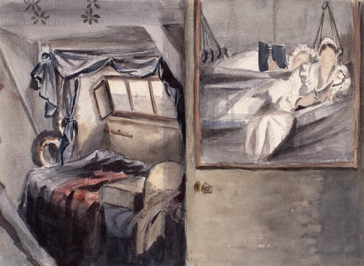 Watercolour sketch shows the artist and her sister, dressed in nightwear, reclining in a bunk of their ship's cabin.