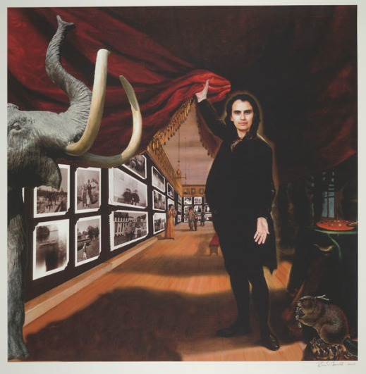 Colour digital print shows the artist, full-length, and flanked by a mammoth, a beaver, and an artist's palette. She draws aside a red curtain to reveal a gallery of mounted black-and-white photographs.