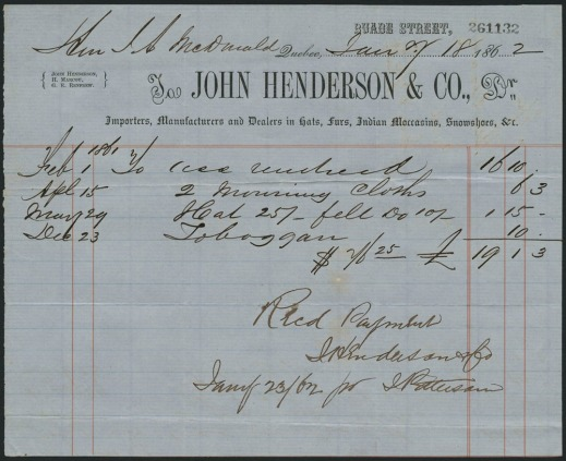 A handwritten receipt from Montreal furrier John Henderson & Company detailing purchases made, on various dates, by Sir John A. Macdonald. These include a toboggan, which was purchased on December 23, 1862.