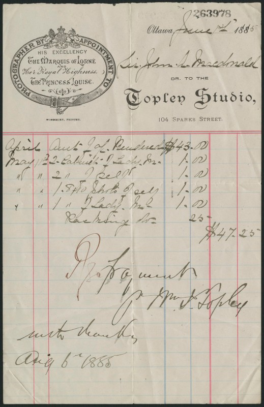 Image shows one of Sir John A. Macdonald's receipts for a photographic session with William James Topley, June 1885.