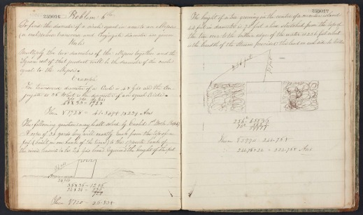 Image shows a school exercise book belonging to Sir John A. Macdonald when he was a child; the book is open at a page of geometry exercises.