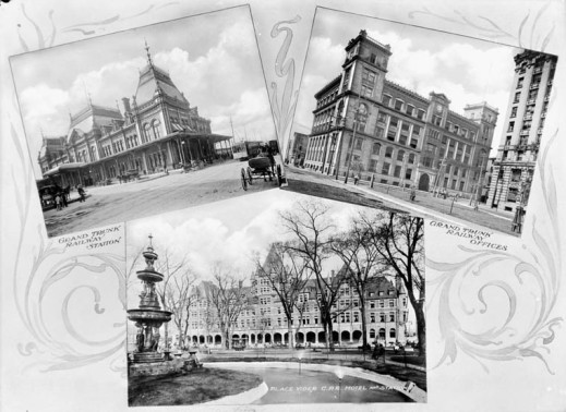 A black-and-white postcard featuring three photographs of the sights around the train station in Montreal.