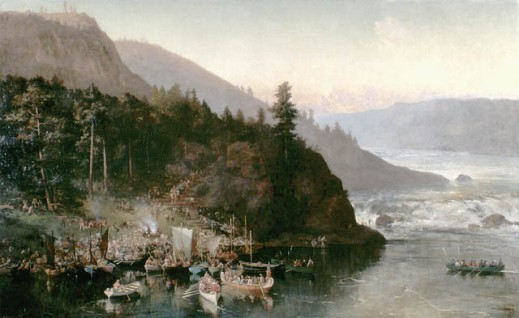 Painting showing various activities of the men of Colonel Garnet Wolseley's Red River Expedition (1870), as they portage canoes and supplies at Kakabeka Falls, on the Kaministiquia River, Ontario, including a sweeping view of the Kaministiquia gorge with white water and mountains in the background.