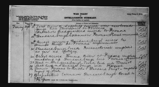 """A black-and-white reproduction of a handwritten page for April 15, 1917 reading: """"[…] Battalion Headquarters moved to Peronne."""""""