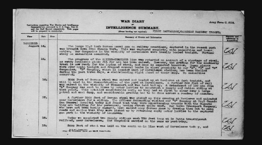 """Black-and-white reproduction of a typewritten page for August 14, 1918 reading, """"The large 11,2 inch German naval gun on railway mountings, captured in the recent push was brought down from Chemin Vert. This was captured complete, with ammunition and locomotive. […]"""