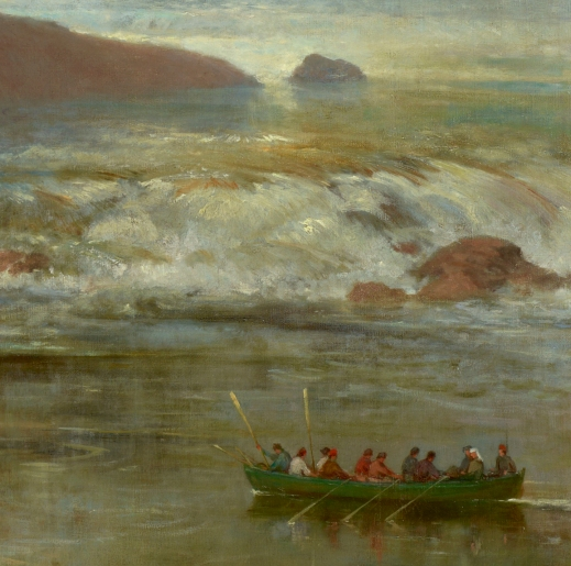 Detail of rapids on the Kaministiquia River, invented by the artist for this painting