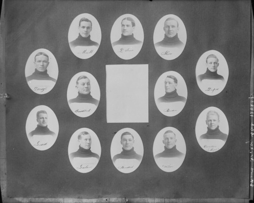 A black-and-white photograph with medallions portraits of 12 men centered around a white square.