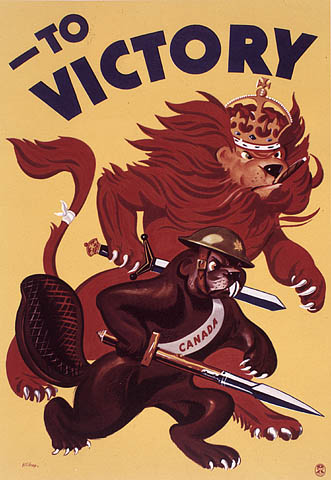 A colour poster showing a lion and beaver wielding swords and advancing menacingly.