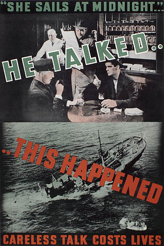 A colour poster showing two photographs overlaid with text. The top photo shows a café with people talking and a bystander listening to their conversation. The photo below shows a boat sinking.