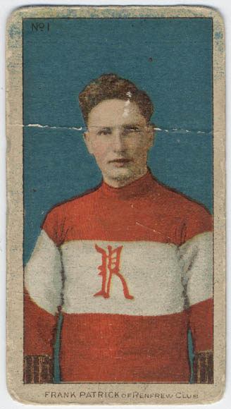 "A colour reproduction showing a colourized photograph of a young man wearing a red-and-white sweater with a red ""R"" emblazoned in the middle of his chest."