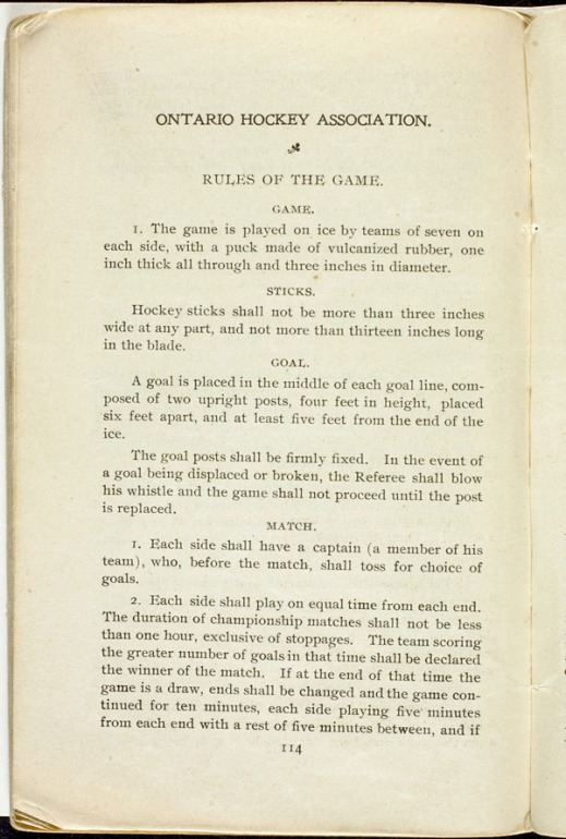 A typewritten page showing the rules of hockey.