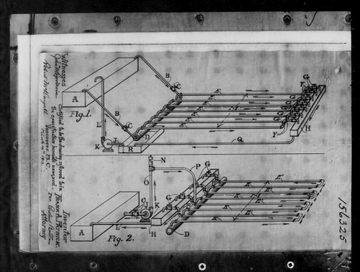 A black-and-white reproduction of a sketch showing the cooling mechanism for a hockey rink.