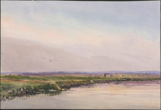 A colour reproduction of a watercolour depicting a landscape dominated by a light smoky sky. There is a river in the foreground with a green shore marking the boundary between sky and water.
