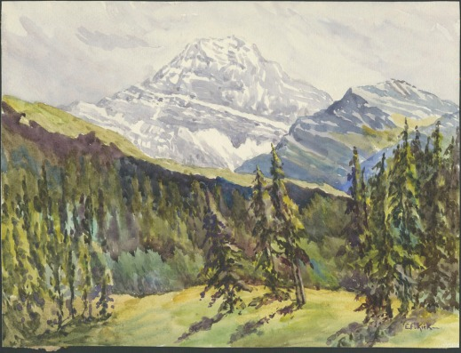 A colour reproduction of a watercolour landscape showing snow-capped mountains and green forested meadows.