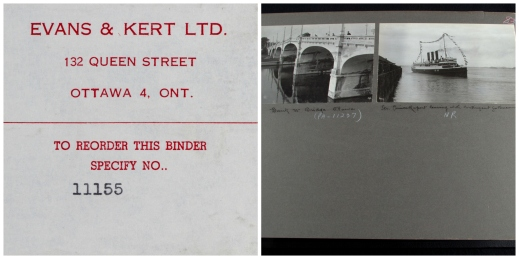 "A collage of two images. The first one is a label explaining how to reorder the binder if necessary, and the second one shows two black-and-white photographs: one of an Ottawa bridge and the other captioned, ""Str. Prince Rupert leaving for Vancouver."""