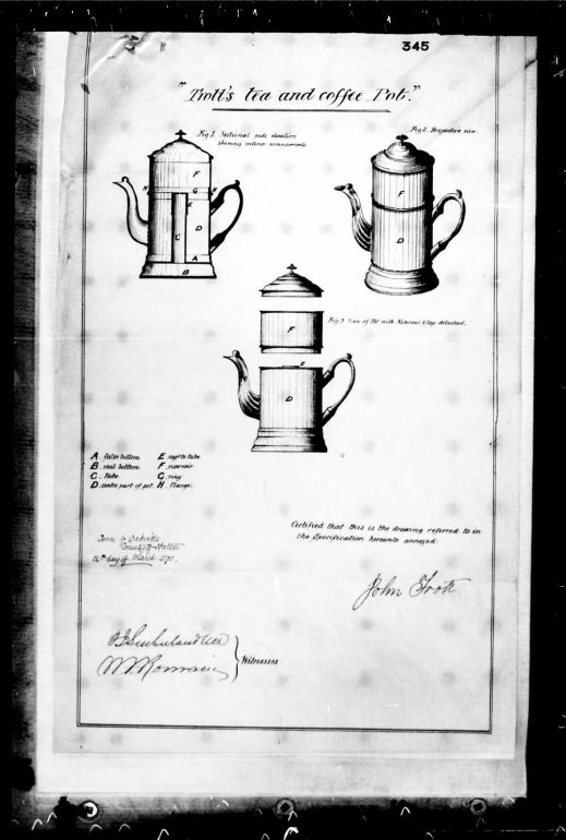 A black-and-white reproduction of three detailed illustrations of a tea and coffee pot from a patent application.