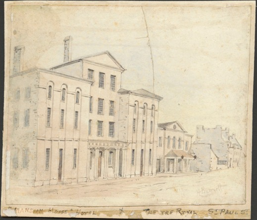 This watercolour painting of a street scene depicts a four-storey neoclassical building. In the distance, more modest buildings can be seen.