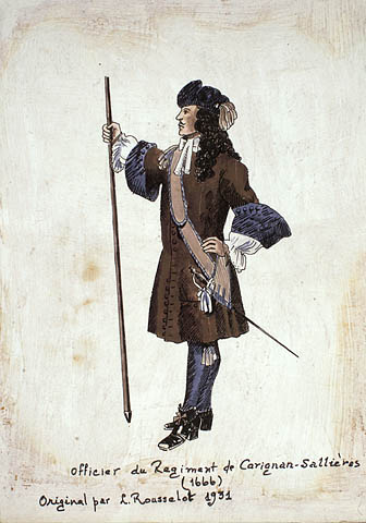 A pen and watercolour sketch depicting an officer in the Carignan-Salières Regiment in profile. He is holding a lance in his right hand and wearing a sheathed sword on his left hip.
