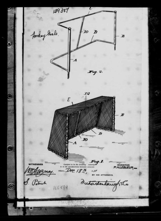 A black-and-white illustration showing a hockey net design with exact measurements for the design.