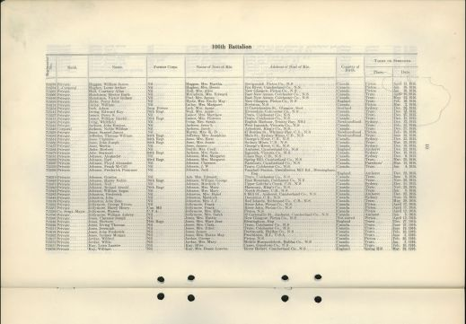 A nominal list showing the regimental number, rank, name, former corps, name of next of kin, address of next of kin, country of birth, and the place and date on which they were taken on strength.