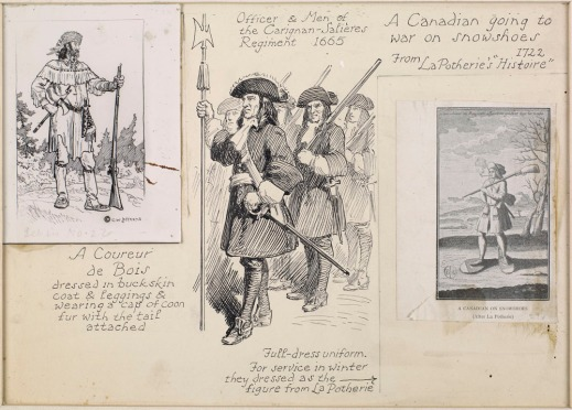 A collage with three images on cardboard. (1) a coureur des bois with gun and typical clothing (2) three soldiers with tricorne hats, swords and guns and (3) a habitant going to war in the winter wearing snowshoes, a gun and smoking a pipe.