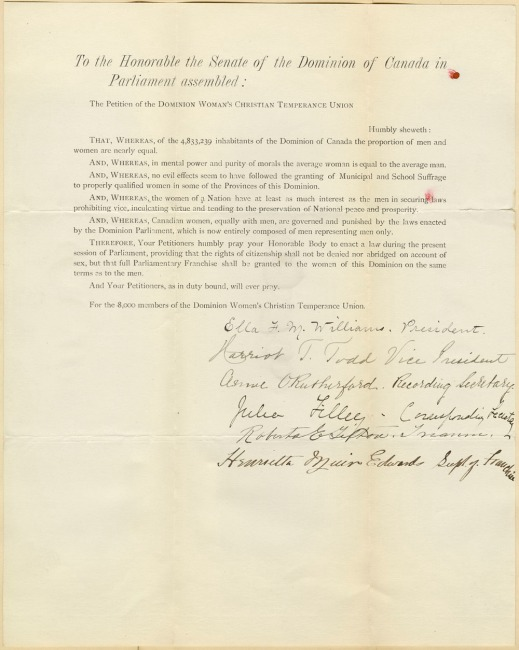 A typed letter outlining the reasons why women should get the right to vote and signed by the entire executive committee of the DWCTU.