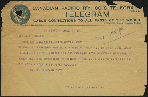 A Canadian Pacific Railway telegram from Carrie C. Catt addressed to Prime Minister Robert Borden.