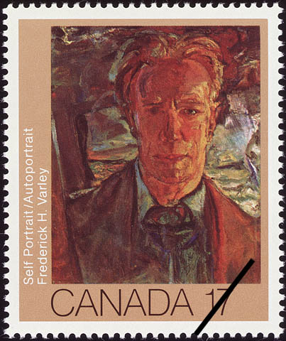 A colour stamp showing a portrait of a man looking directly at the viewer. The background is chaotic and there seems to be the shadow of a cross over his right shoulder.