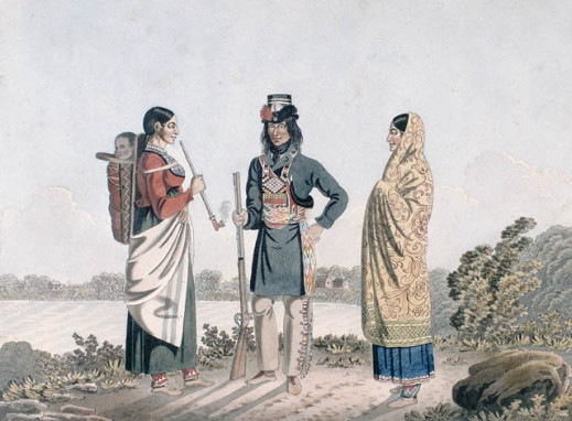 A watercolour landscape of a man, flanked by two women, standing in front of a body of water. The man is holding a rifle and the woman on the right is holding a long pipe and carrying an infant in a cradleboard on her back.