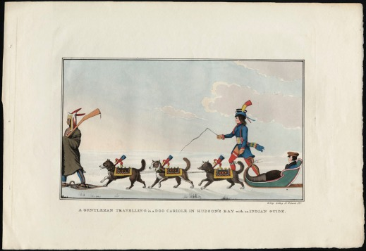 A lithograph of a snowy landscape with a man seated in a cariole (sled) pulled by three dogs in colourful coats. A man wearing a blanket and snowshoes is on the left in front of the dogs. A man holding a whip and wearing clothing associated with Métis culture (a long blue jacket, red leggings and an embellished hat) walks on the right-hand side of the sled.