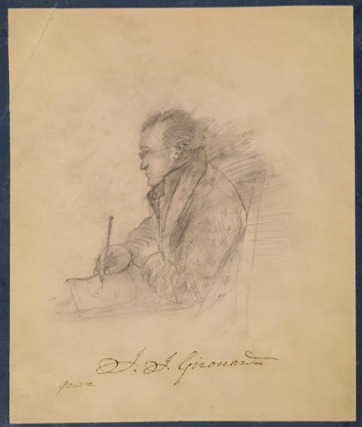 A pencil sketch of Jean-Joseph Girouard in profile, sitting in a chair and drawing on paper with a pencil.