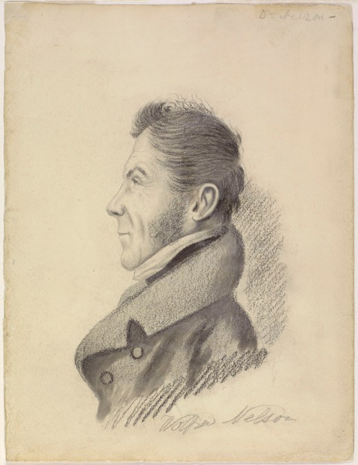 A pencil drawing of Wolfred Nelson facing left, with shading around his shoulders, back of head and neck.