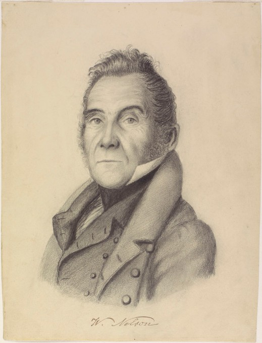 A pencil portrait of Wolfred Nelson looking toward the artist.