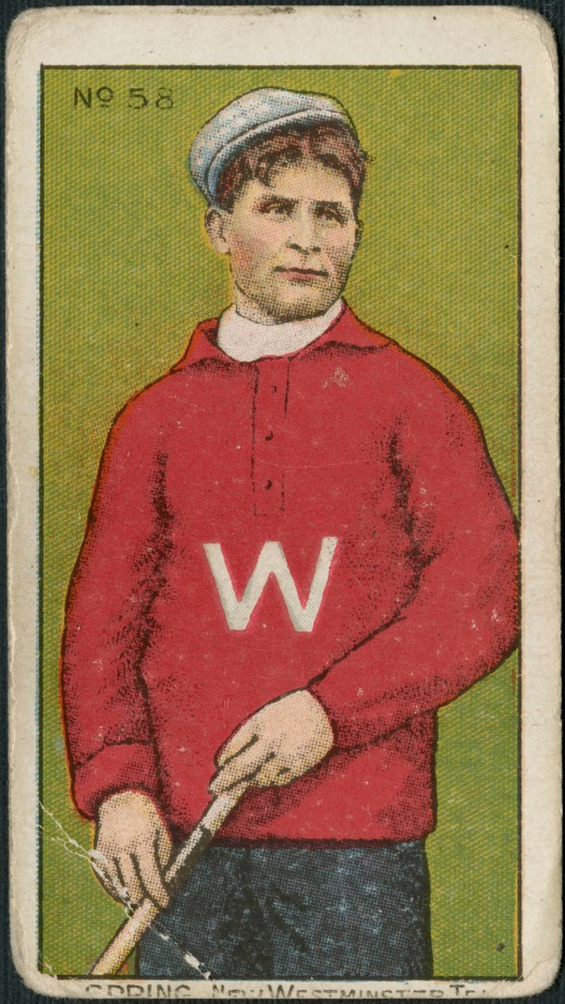 "A trading card with a colour print of a man wearing a red sweater with a white letter ""W,"" a white cap and holding a lacrosse stick. It is captioned: ""G. Spring. New Westminster Team."""