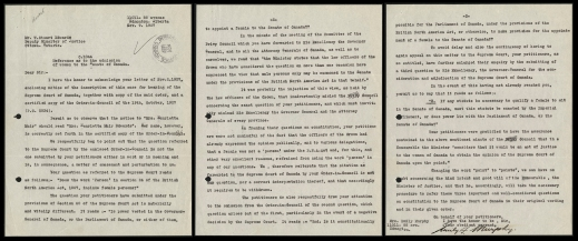 Three pages of a letter from Emily F. Murphy regarding the Persons Case petition.