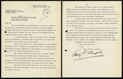 Two pages of a letter from Emily F. Murphy regarding the Persons Case petition.