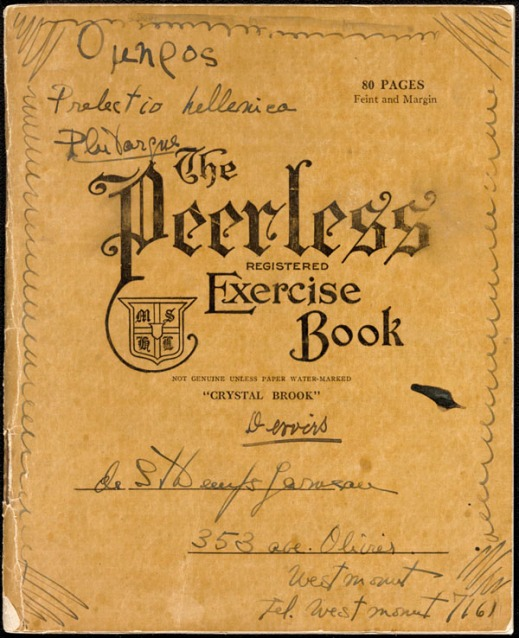 "A colour image of a notebook with ""The Peerless Registered Exercise Book"" on the cover containing handwritten annotations and inscriptions in Greek."