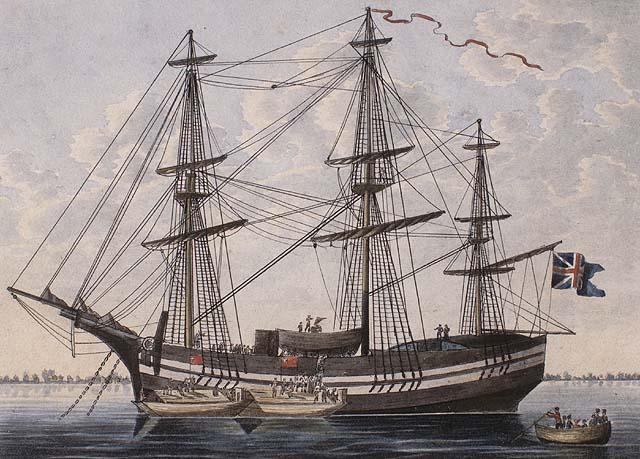 Aquarelle sur papier vélin illustrant un trois-mâts à l'ancre entouré de trois petites embarcations amenant passagers et provisions.