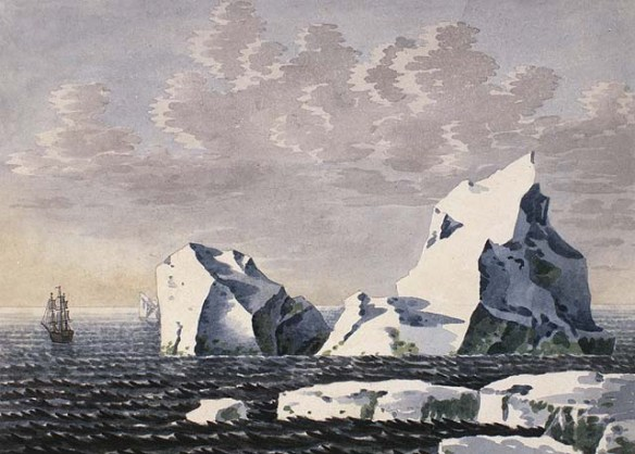 Aquarelle sur papier vélin illustrant un voilier qui se trouve à une certaine distance de gros icebergs, à droite.