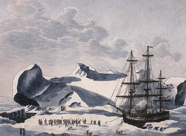 Aquarelle sur papier vélin illustrant un voilier ancré à une masse de glace. Plusieurs figures sont debout sur la glace, à gauche.